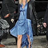 Nicole stopped by a Sirius radio show wearing a blue Todd Lynn dress, leather-sleeved jacket, and python pumps in March 2012.