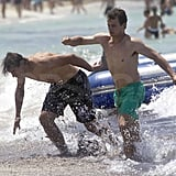 Rafael Nadal horsed around with friends.