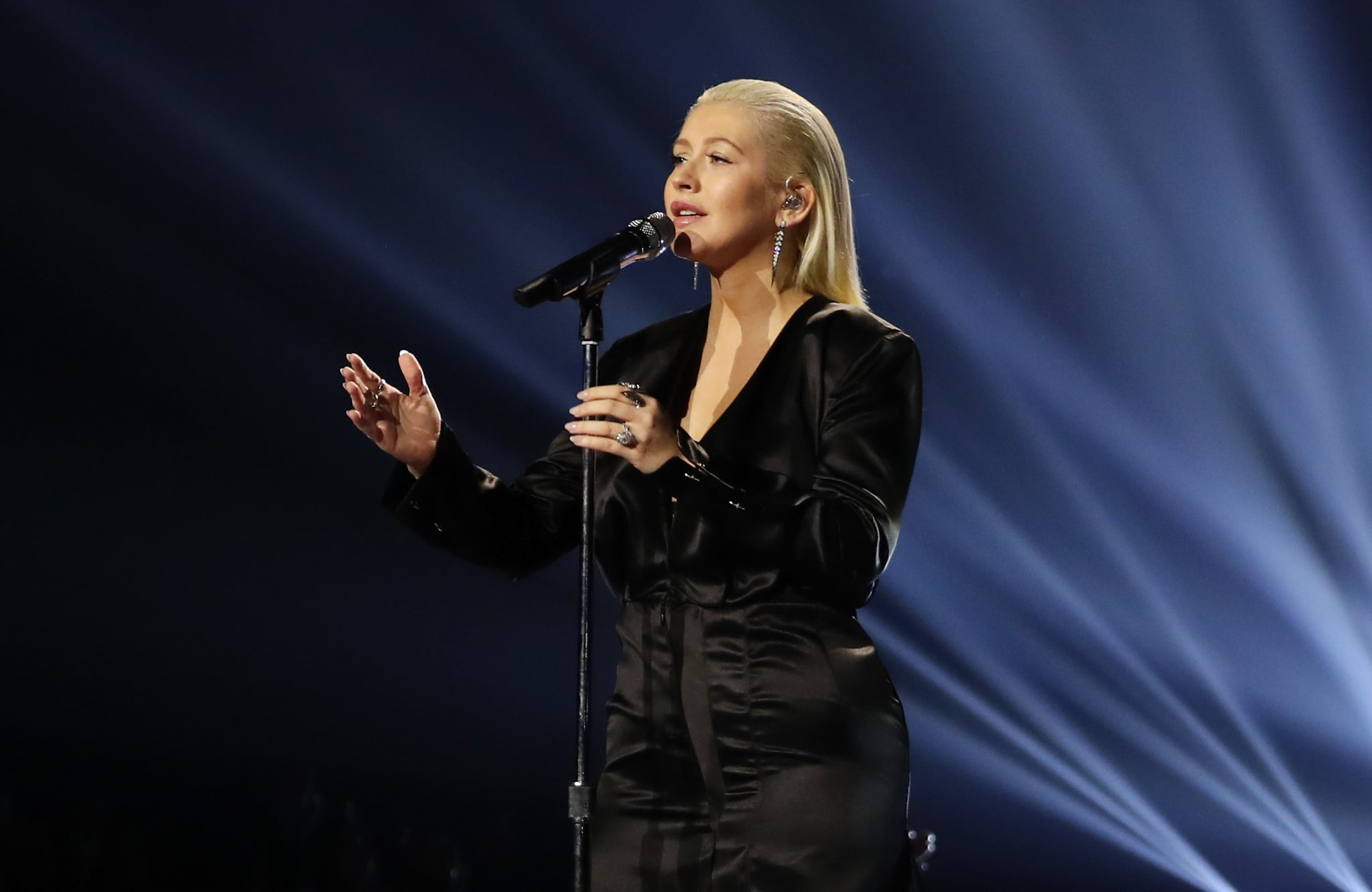 LOS ANGELES, CA - NOVEMBER 19:  Christina Aguilera sings tribute to Whitney Houston onstage during the 2017 American Music Awards at Microsoft Theater on November 19, 2017 in Los Angeles, California.  (Photo by Chris Polk/AMA2017/Getty Images for dcp)