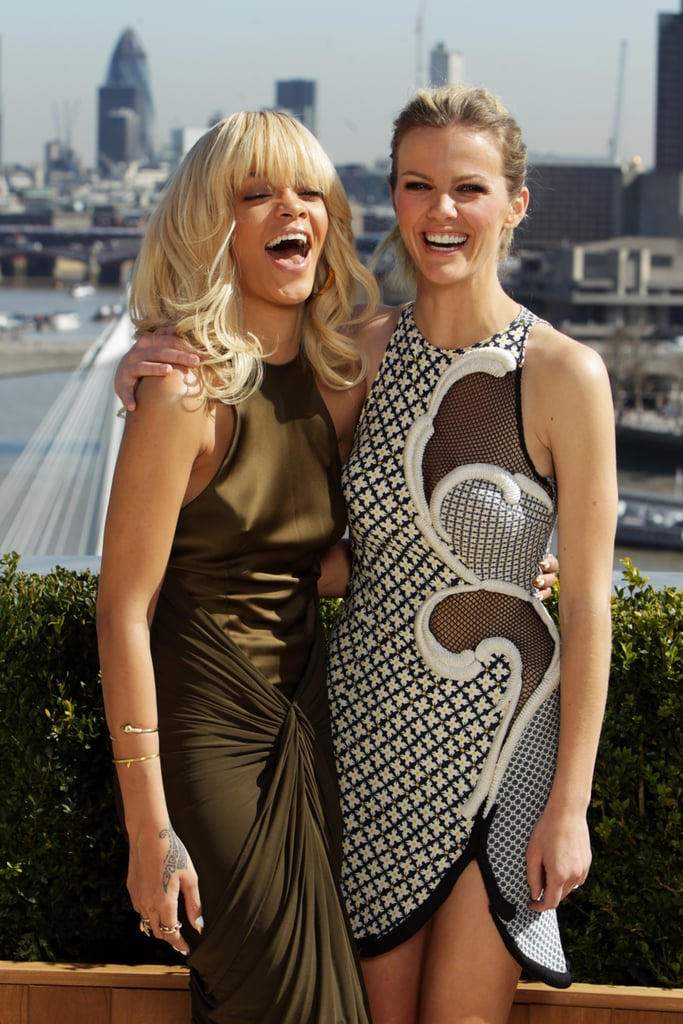Rihanna and Brooklyn Decker shared a laugh at a photocall for Battleship in London.