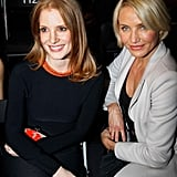 Jessica Chastain and Cameron Diaz caught up at couture week.