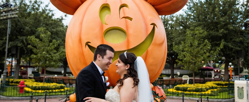 This Couple Got to Take Their Wedding Photos Around Disneyland With the Halloween Decor!