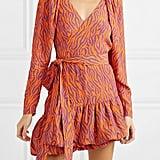 Rotate Birger Christensen Zebra-Print Twill Wrap Mini Dress