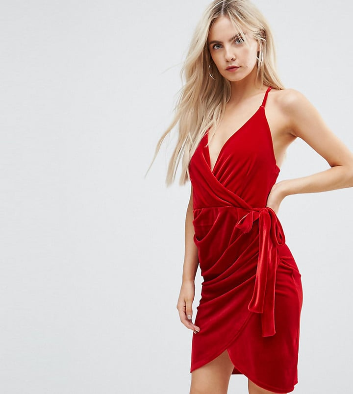 Boohoo Velvet Wrap Dress