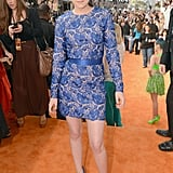 Kristen Stewart opted for a lacy blue Stella McCartney long-sleeved minidress and cobalt-hued Barbara Bui heels at the 2012 Kids' Choice Awards.