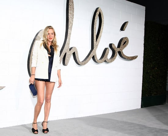 Big Love Actress Chloe Sevigny Attends Chloe LA's Opening Boutique Party in Navy and Cream and Short Shorts
