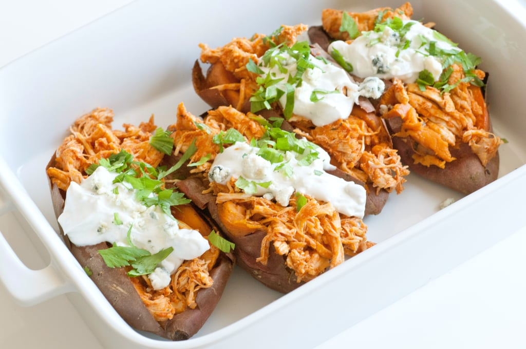 Buffalo-Chicken-Stuffed Sweet Potatoes