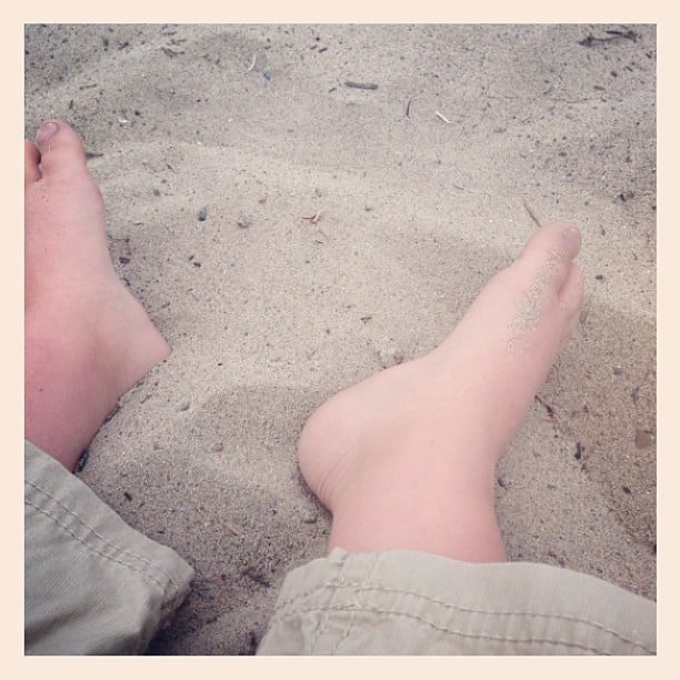 Arthur Bleick spent the afternoon with his feet in the sand. Source: Instagram user babysaint
