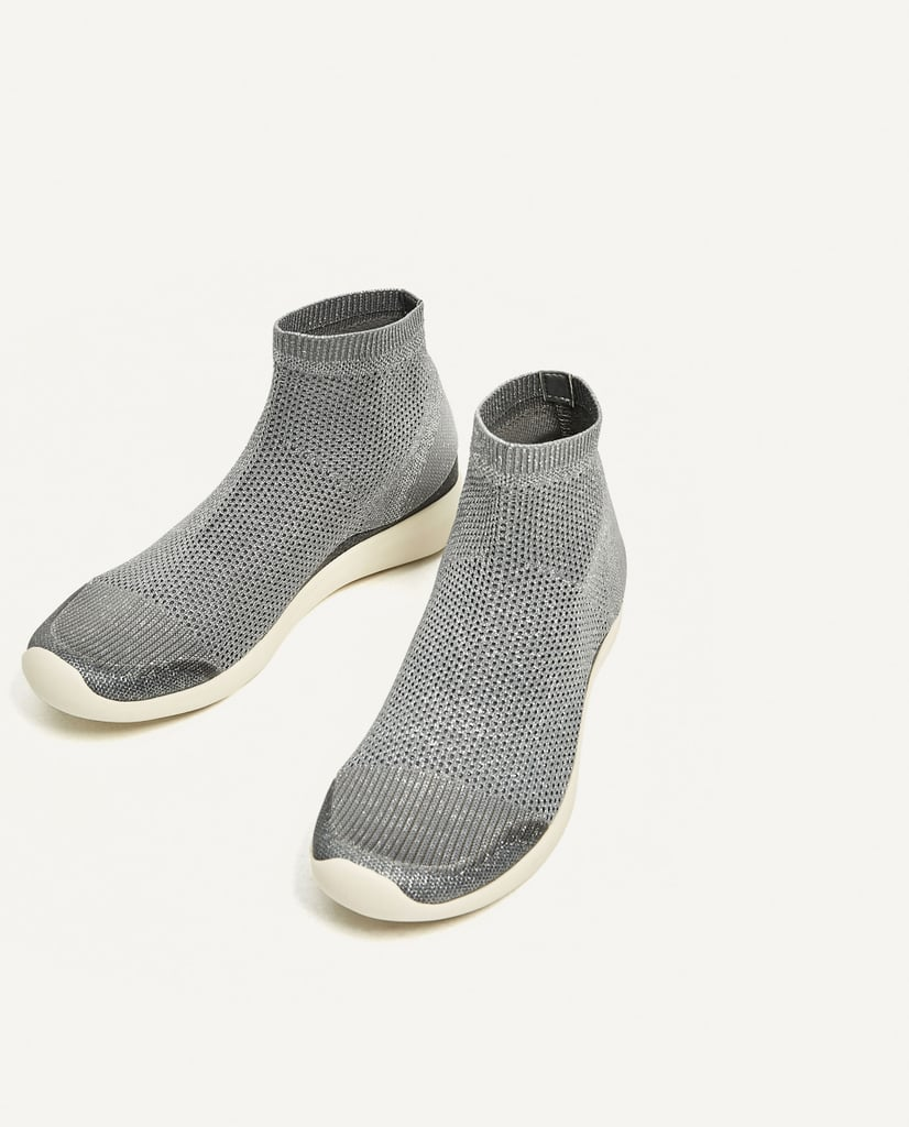 Slip into Zara's Shiny Sock Sneakers ($70) for a quick on-the-go look.