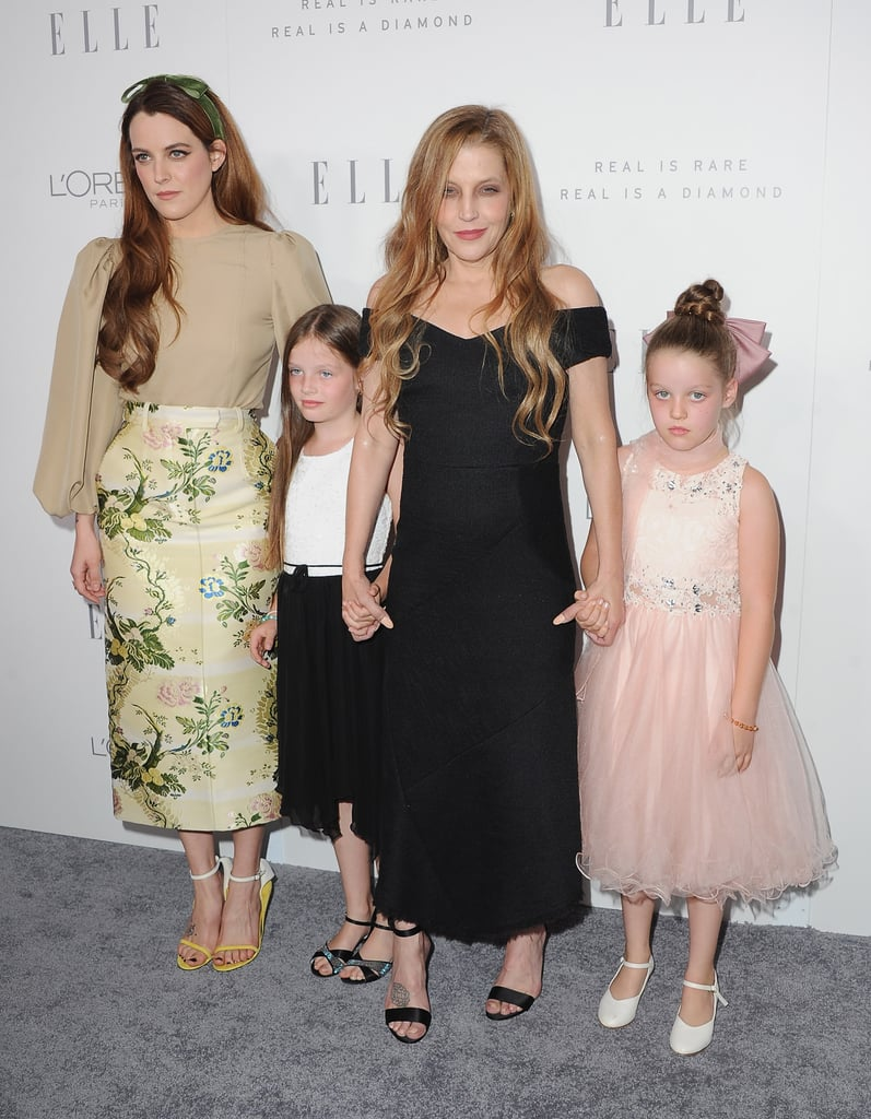 In her first red carpet appearance since the Mad Max: Fury Road premiere in 2015, Lisa Marie Presley stepped out with her three beautiful daughters on Monday. The 49-year-old singer attended the Elle Women in Hollywood event in LA to celebrate her daughter, Riley Keough, and her appearance in the magazine's annual issue. Also in attendance were Lisa Marie's 9-year-old twin girls, Harper Vivienne Ann and Finley Aaron Love. Though the fraternal twins have a different father than Riley — their dad is musician Michael Lockwood, while Lisa shares Riley with singer-songwriter Danny Keough — it's shocking to see how alike they all look. See more pictures from the sweet girls' night out below.