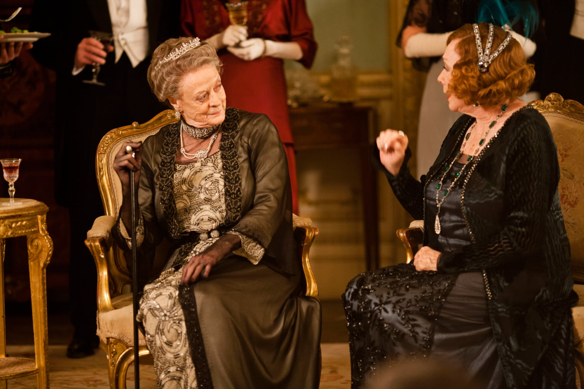 DOWNTON ABBEY, l-r: Maggie Smith, Shirley MacLaine, (Season 3, aired January 6, 2013), 2010-, ph: Nick Briggs/  Carnival Films for Masterpiece/PBS / Courtesy: Everett Collection