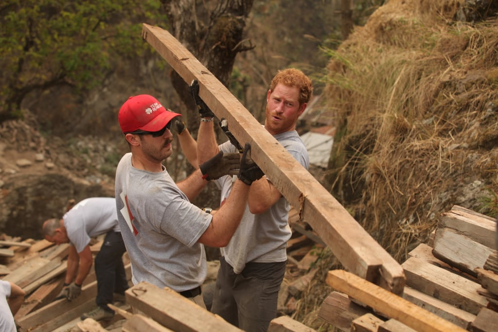 The prince helped Team Rubicon UK rebuild an earthquake-damaged community in March 2016.
