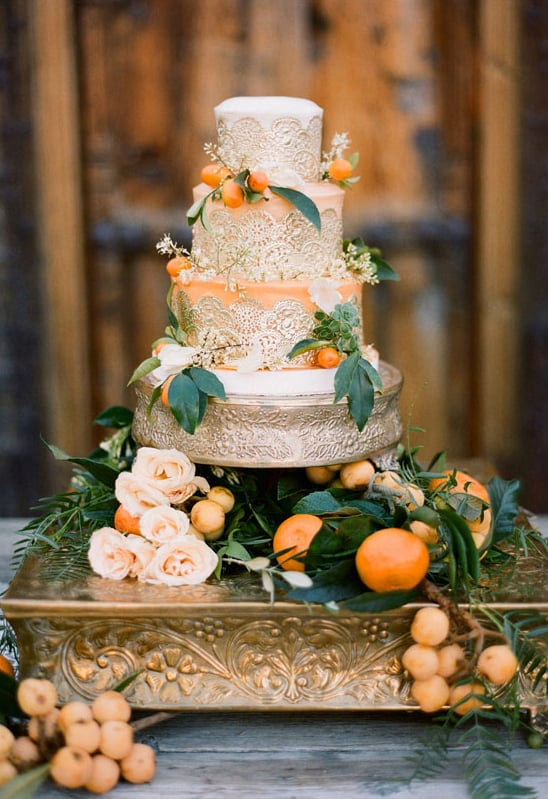This is one occasion where there's no such thing as too much pomp and circumstance. The lace! The gold! The oranges! It's all fit for a royal wedding, if you ask us.