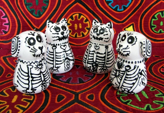 Dog and Cat Skeleton Salt and Pepper Shakers