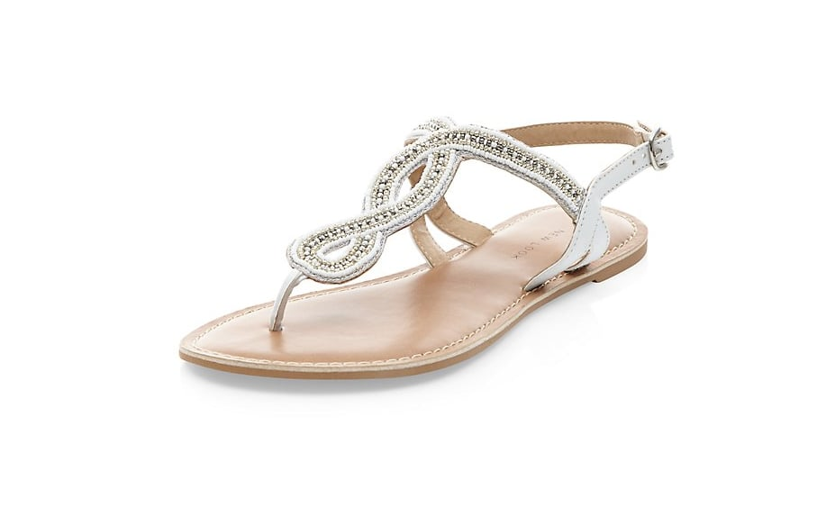 8a0862e0cf9e9 New Look Wide Fit White Beaded Swirl Sandals | Ultimate Guide to ...