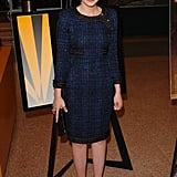 Carey made us yearn for cooler weather in a blue tweed Chanel sheath and gold-trim leather sandals in Hollywood.