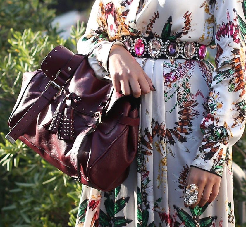 This Mulberry satchel was a Fall counterpart to a floral-print maxi and jeweled belt. Source: Greg Kessler