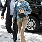 Kendall Jenner Wore a Balenciaga Denim Jacket and Tweed R13 Pants