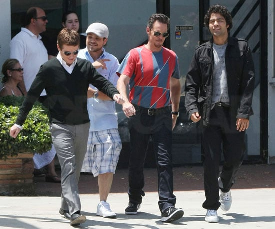 Photo Slide of Kevin Connelly, Jerry Ferrara, Kevin Dillon, and Adrian Grenier Filming Entourage in LA