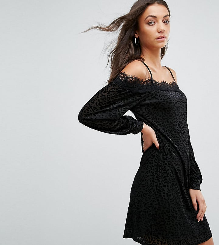 0e5123f740bf95 Fashion Union Tall Cold Shoulder Cami Dress in Leopard Burnout Velvet