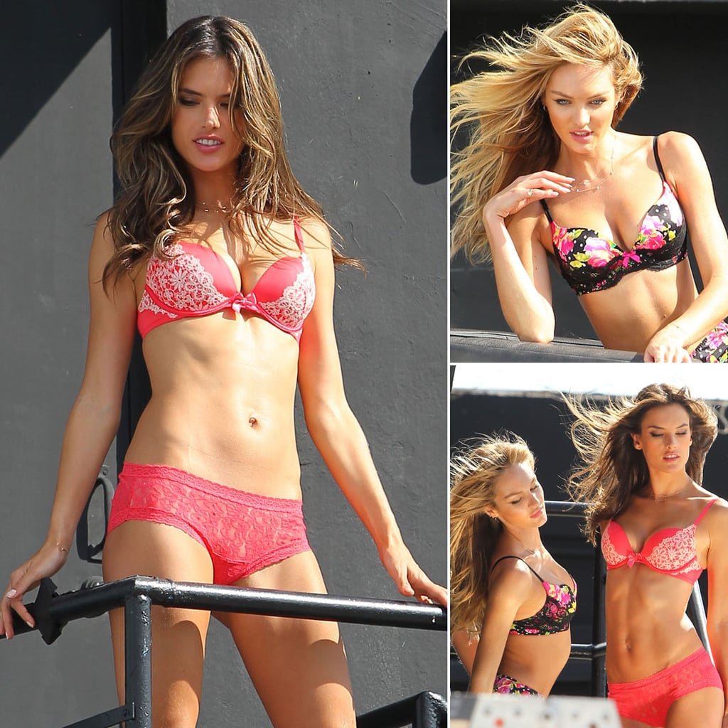 Candice Swanepoel and Alessandra Ambrosio in Lingerie Pics