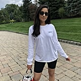 The outfit: I wore my Nike x Off-White tee with the Good American biker shorts, my retro Fila sneakers, a Chanel bucket bag, and Quay sunglasses.