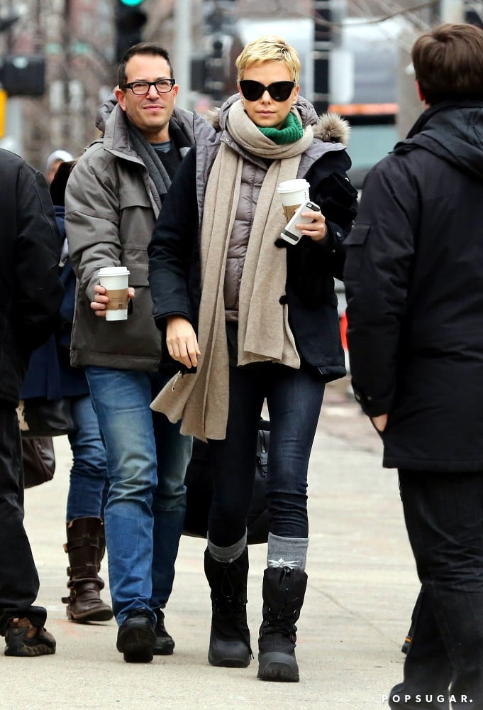 Charlize Theron reported to her Hatfields & McCoys set in Boston.