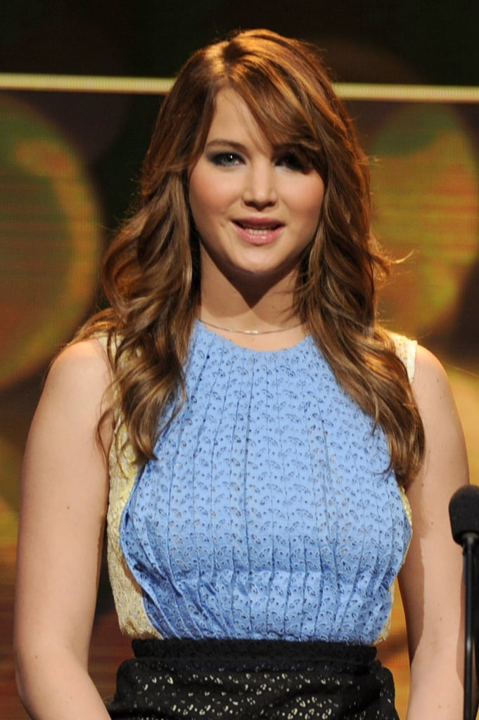 Jennifer Lawrence With Auburn Hair and Side Bangs