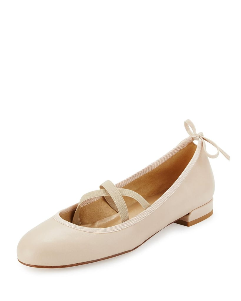 These aren't your average ballet flats. Just check out the crisscross strap detail and bow on the heel of this Stuart Weitzman pair ($375). The small updates make the style new again for Spring.