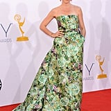 Julianna Margulies — mom to Kieran, 4 — embraced the season's print trend in an Armani Prive gown.