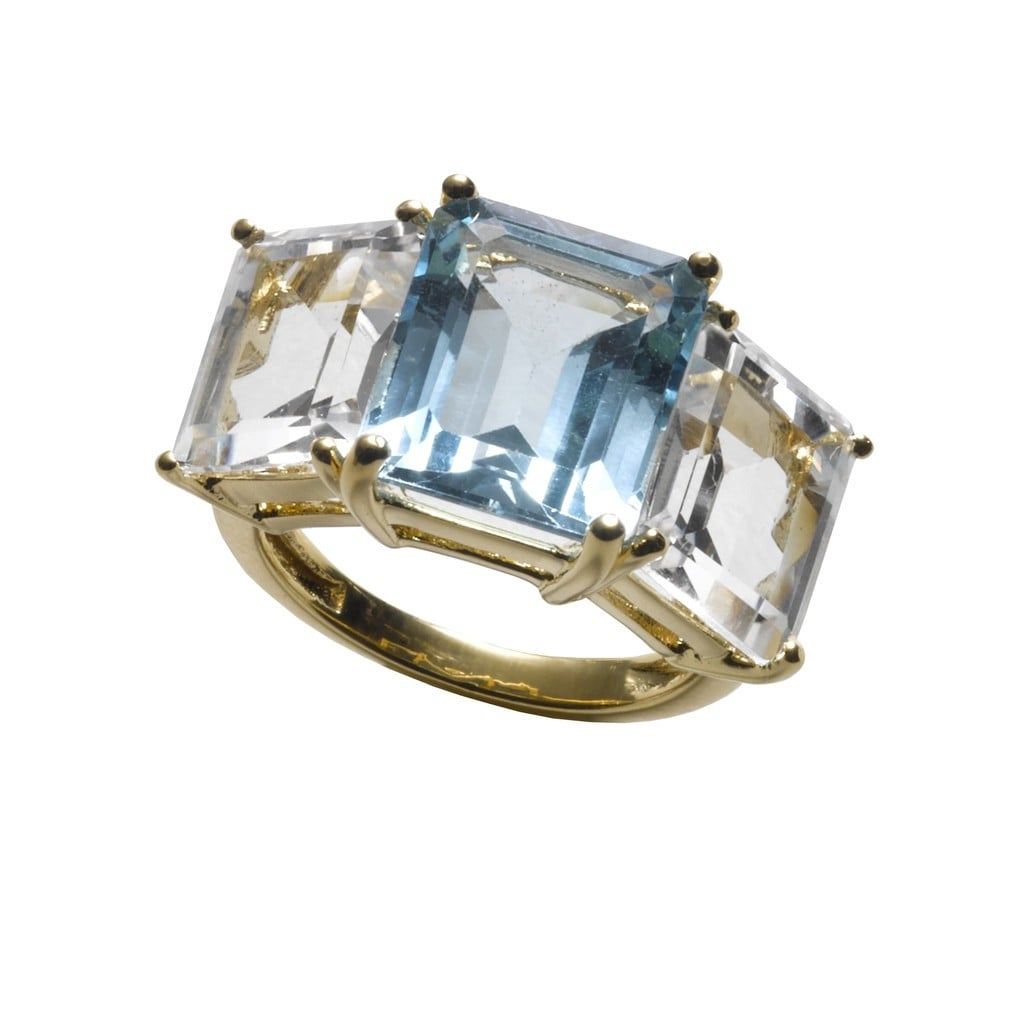 Asha Kelly Ring With Blue and White Topaz ($495)