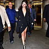 Fall staple: A black double-breasted blazer jacket by Lanvin. Selena wore it with: An asymmetrical Anthony Vaccarello dress, Jennifer Behr net headpiece, and Stella McCartney shoes at The Tonight Show in October 2015.