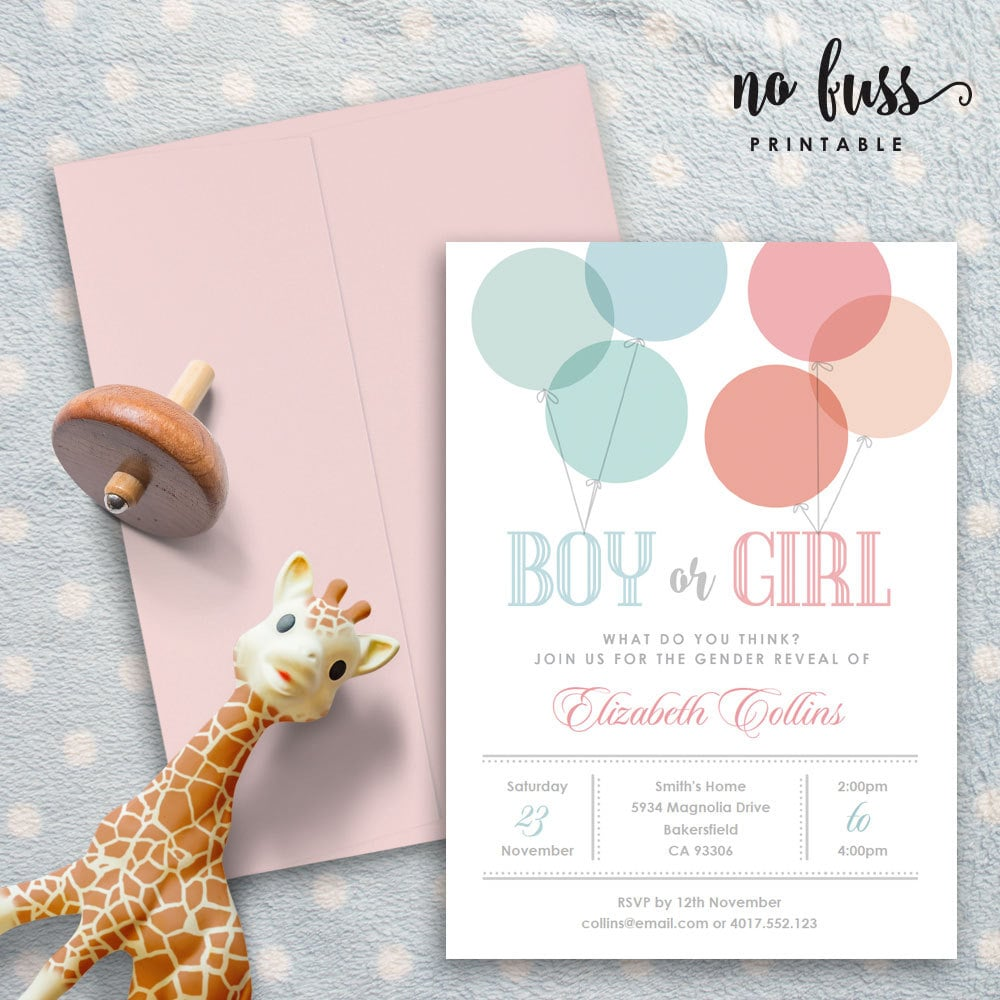Balloons Invite | Gender Reveal Invitations | POPSUGAR Moms Photo 2