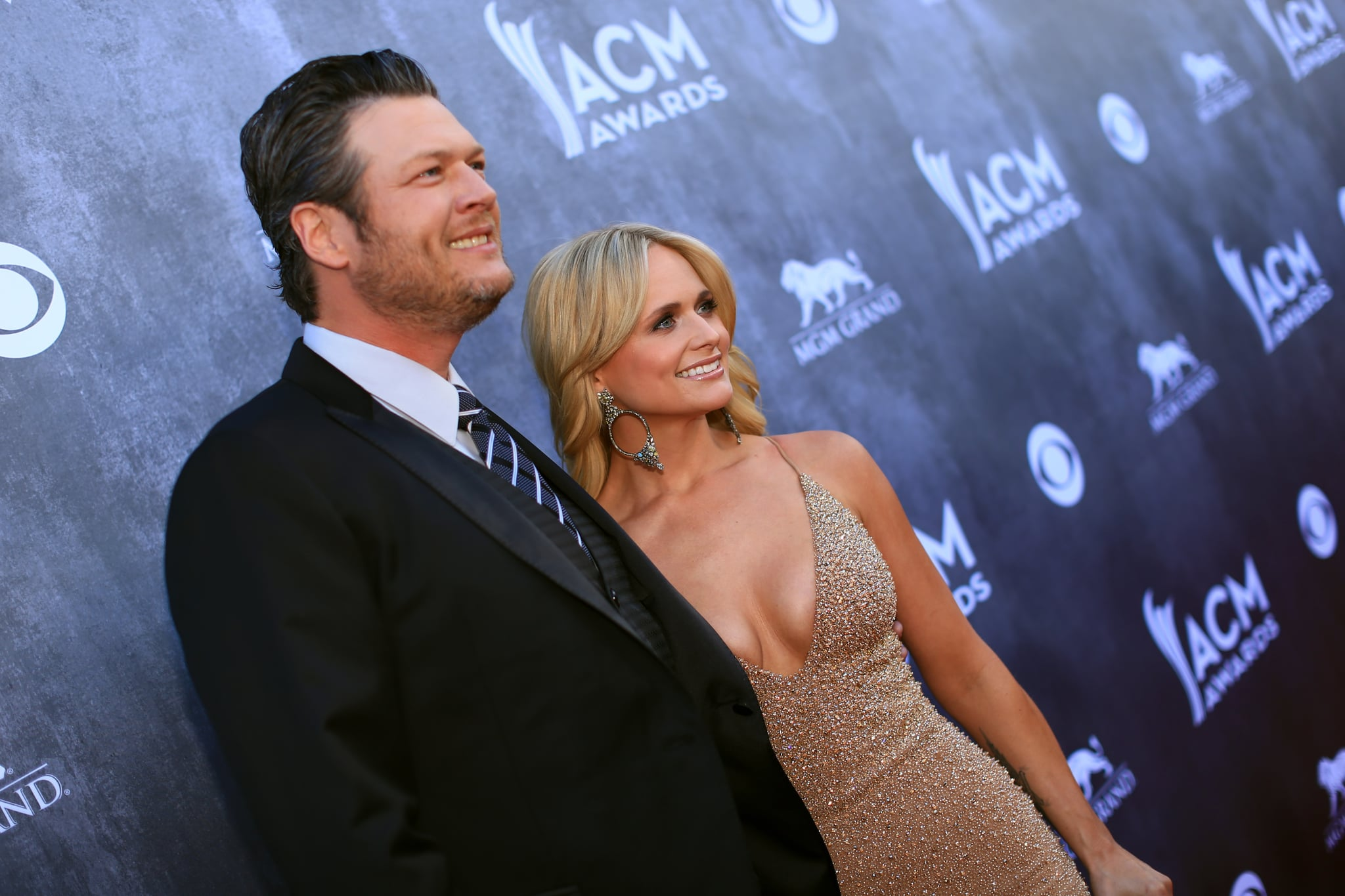 LAS VEGAS, NV - APRIL 06:  Recording artists Blake Shelton (L) and Miranda Lambert attend the 49th Annual Academy of Country Music Awards at the MGM Grand Garden Arena on April 6, 2014 in Las Vegas, Nevada.  (Photo by Christopher Polk/ACMA2014/Getty Images for ACM)