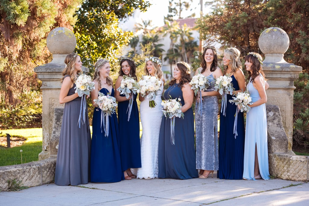 Different colored bridesmaid dresses add unique character for Different colored wedding dresses