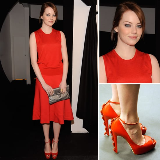 Emma Stone Red Outfit at New York Fashion Week