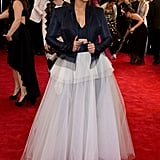 Alicia Keys married menswear with a full tulle skirt.