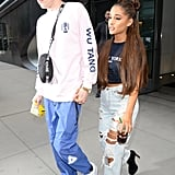 In early July, Ariana and Pete were spotted in NYC in casual graphic tees, Ariana's by Brandy Melville. She wore distressed Carmar denim and stood tall in Sergio Rossi platform boots.