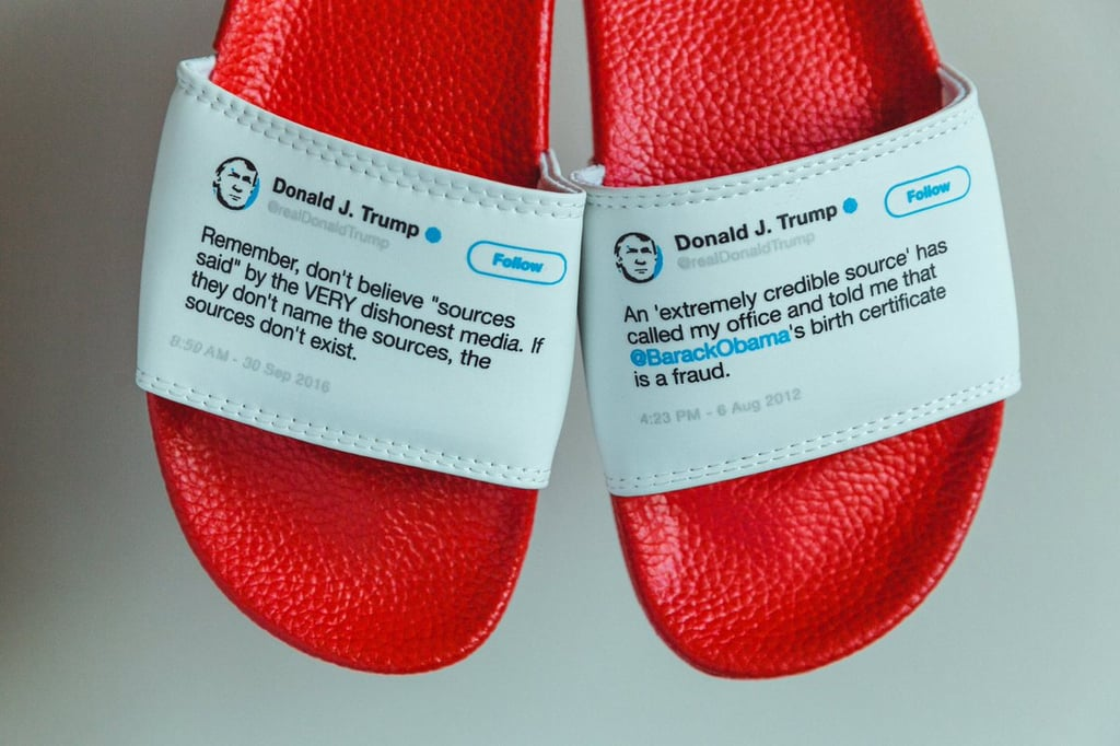 "Donald Trump is a man of many words, but he hasn't always been consistent with the statements that come out of his mouth — erm, Twitter feed. Luckily for us, his constant flip-flopping on everything from policy issues to conspiracy theories has inspired an entire line of actual flip-flops, which feature some of his most contradictory tweets imprinted side by side.  According to the President Flip Flops website, the petty footwear was made to poke fun at ""the political flip flops"" Trump often makes on Twitter. Their slogan is even: ""Going back on your word, one step at a time."" As for where they're produced? ""Made in China, heat pressed in the US. The same as our President's ties, right?,"" the site reads. Burn!  The good news is that 10 percent of all sales from President Flip Flops will go to the ACLU. Read on to see the flip-flops up close, and find out where you can purchase them before they're all sold out."
