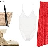 Skin Narcissa Bodysuit ($90). & Other Stories Asymmetric Wrap Midi Skirt ($69). All Saints Playa East/West Woven Straw Beach Tote ($198). Castañer Carina Canvas Espadrilles ($120).