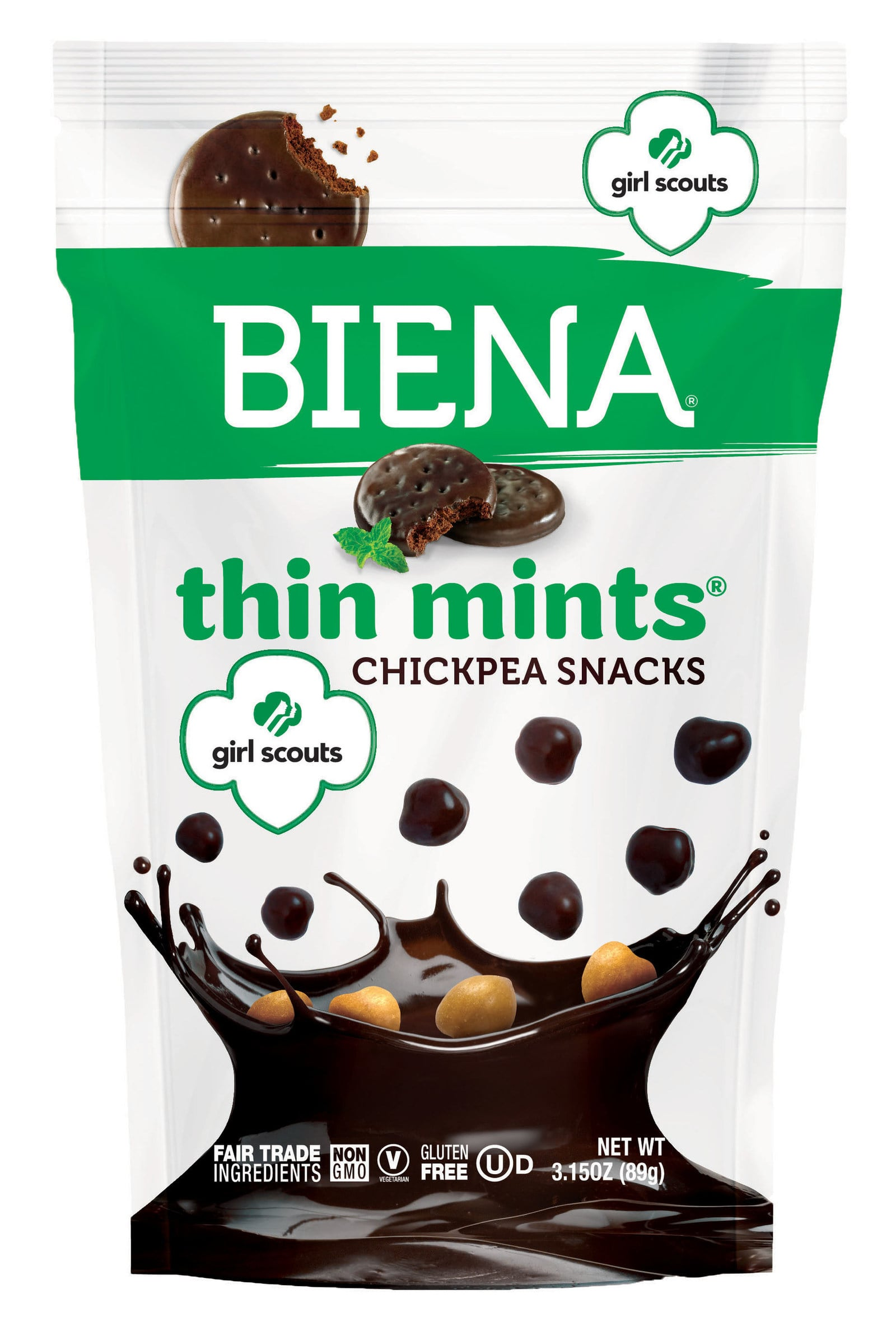 Biena fans will soon be able to get their sweet fix with new Biena Thin Mints Chickpea Snacks, launching exclusively at Whole Foods in June 2018. Biena has submerged its signature Sea Salt Chickpeas into delectable Thin Mints and Fair Trade dark chocolate, offering the timeless taste of Thin mints cookies, all for 130 calories and 4 grams of protein and fiber per serving. (PRNewsfoto/Biena Snacks)