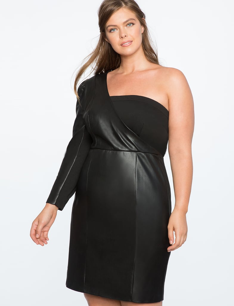 Eloquii One Shoulder Puff Sleeve Faux Leather Dress