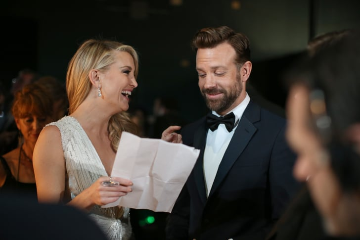Presenters Kate Hudson and Jason Sudeikis cracked up backstage.