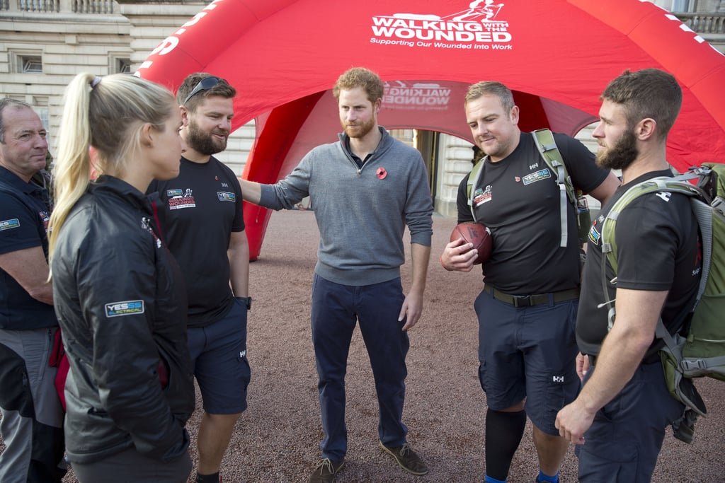 Prince Harry Meets Veterans From The Walk Of Britain Popsugar Celebrity Photo 10