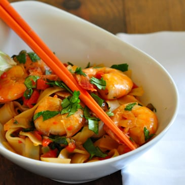 Simple Stir-Fry Shrimp and Rice Noodle Recipe Dinner