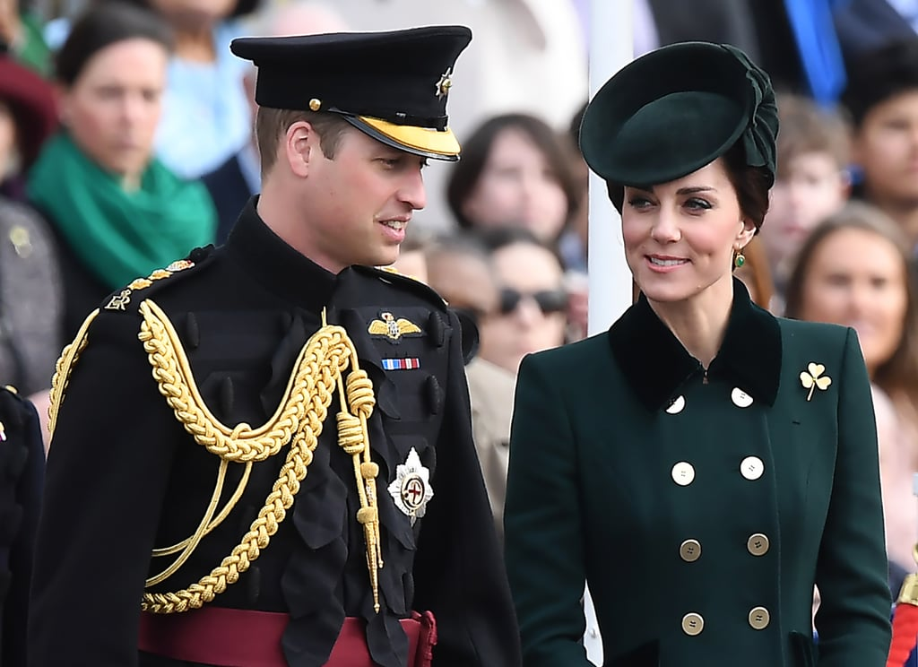 After spending a few days letting loose with friends on a ski trip in the Swiss Alps, Prince William returned to London to celebrate St. Patrick's Day with the Duchess of Cambridge. The royal pair was on hand to present Irish guardsmen with shamrocks during the annual Irish Guards St. Patrick's Day Parade on Friday. Kate, dressed in a gorgeous green coat similar to ones she's worn in the past, even had the distinction of presenting a shamrock to the regimental mascot, a massive Irish Wolfhound (we have a feeling Prince George and Princess Charlotte would've loved him).   The royal family always makes sure to do it big for St. Patrick's day. In 2012, Kate made her first official royal St. Patrick's Day appearance, and in 2015 she and Will were in great spirits during the annual parade at Mons Barracks. Just last year, Prince William looked incredibly handsome while commemorating the holiday solo.
