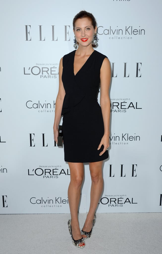 Eva Amurri opted for the less-is-more approach in a classic LBD, then dressed it up with heavily embellished heels and dramatic drop earrings.