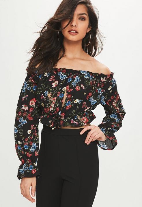 Missguided Black Floral Long Sleeve Crop Top