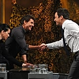 Tom Cruise and Jimmy Fallon shook hands after their skit.