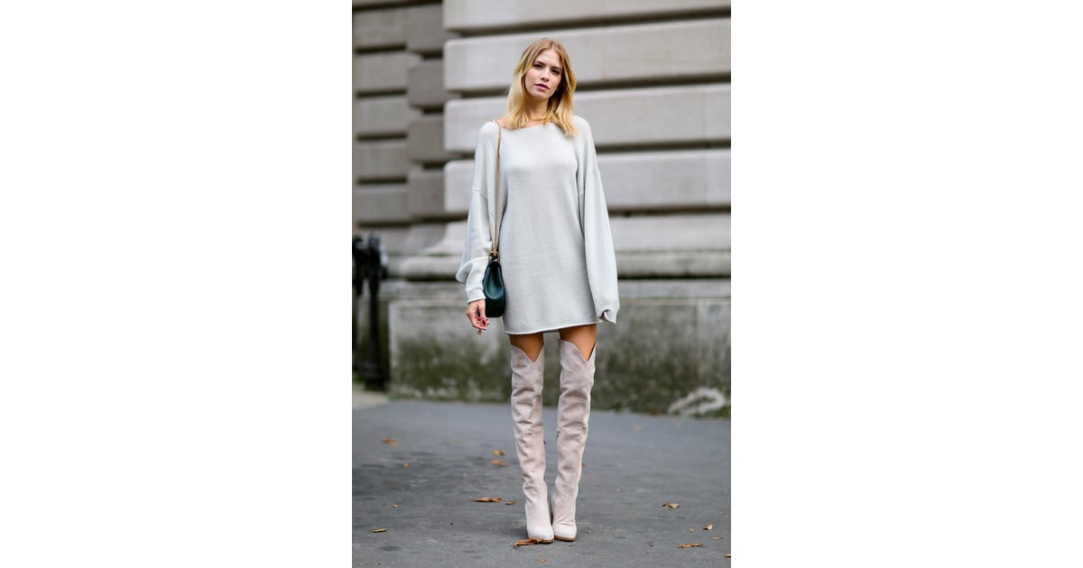 Over-the-knee boots were a recurring trend outside the ...